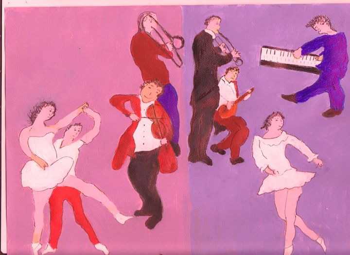 DANCERS WITH THE JAZZ MUSICIANS - ART CREATIONS BY OLGA