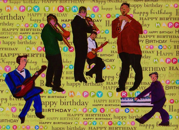 JAZZ MUSICIANS HAPPY BIRTHDAY - ART CREATIONS BY OLGA