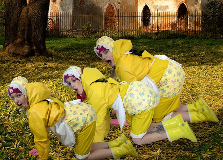 maids go for a walk - maids in plastic clothes