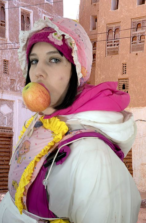 fresh fruit in Orient - maids in plastic clothes