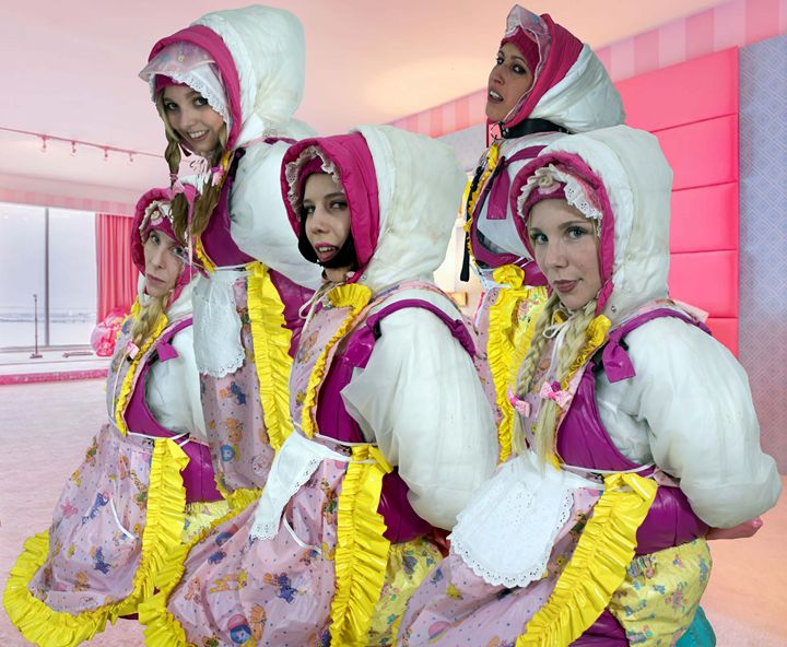 cute hooded barbie maids - maids in plastic clothes