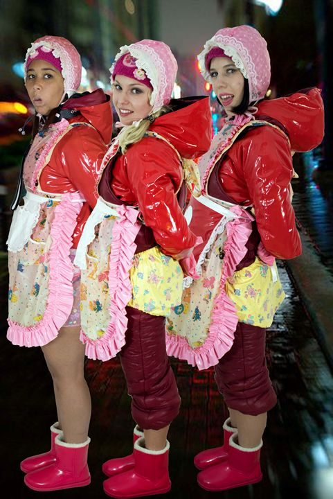 beautiful streetmaids - maids in plastic clothes