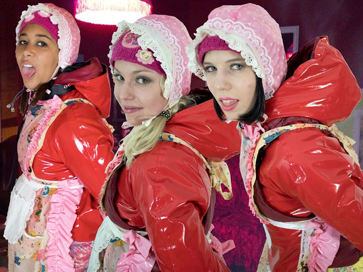 beautiful maids on duty - maids in plastic clothes
