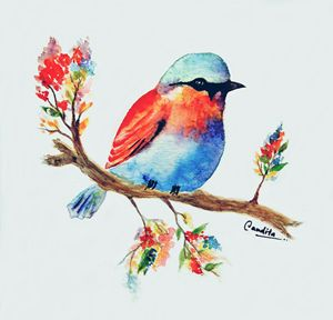 Colourful bird and flora