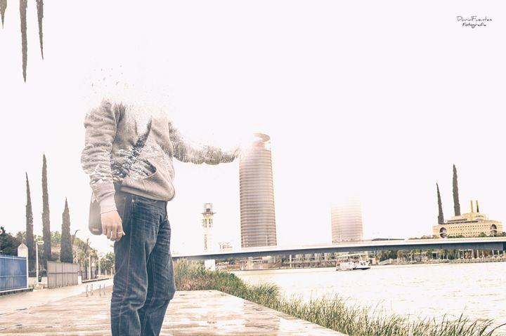 Giant boy in city III - David Fuentes's Art