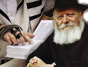 Rebbe and man praying