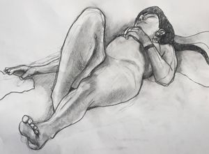 original drawing, Nude girl