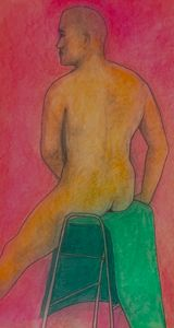 Man with green towel. 2595