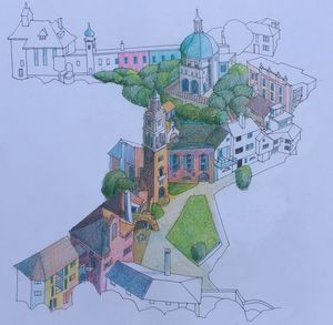Original sketch Portmeirion - IanMorrisArt