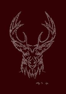 Stag's Head in Red