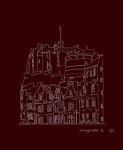 Edinburgh Castle in Red