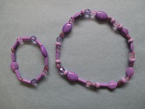 Set of Purple Bracelet and Necklace