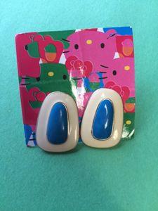 Blue & White Oblong Earrings