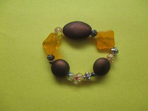 Multi Brown/Orange/Bead Bracelet
