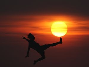 Playing foot-boll with the sun