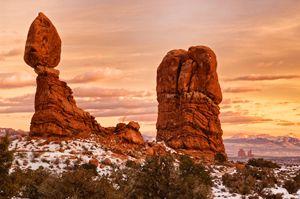 Winter Sunset at Balanced Rock