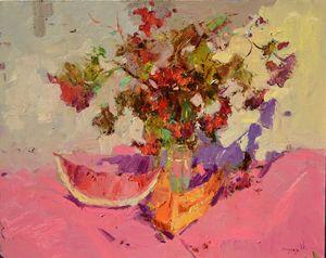 bouquet viburnum _ oil on canvas