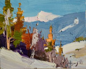Snowy slope _  Oil on Cardboard - Shandor Alexander