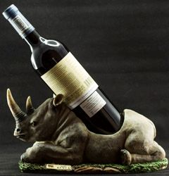 Carved Rhino Wine Holder