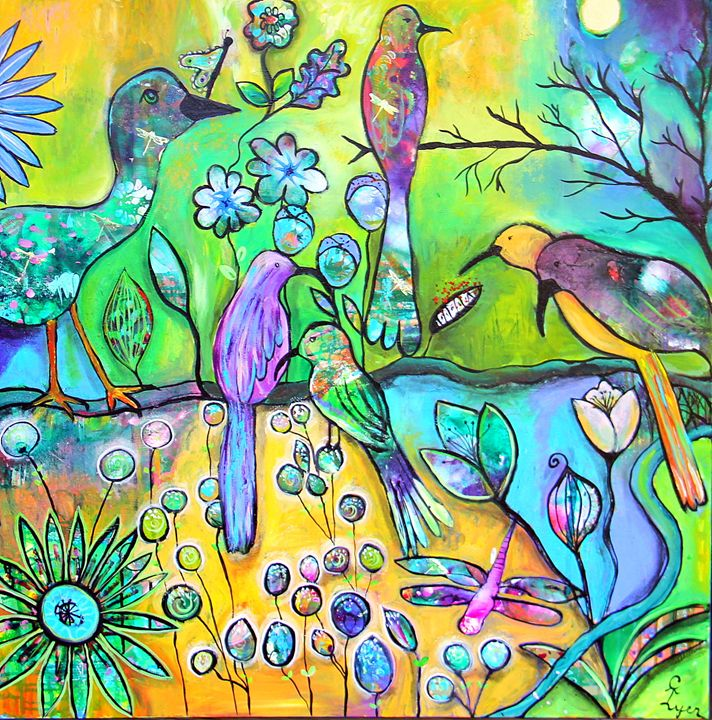 Bird Party - Carols Canvas - Art by Carol Lynn Iyer