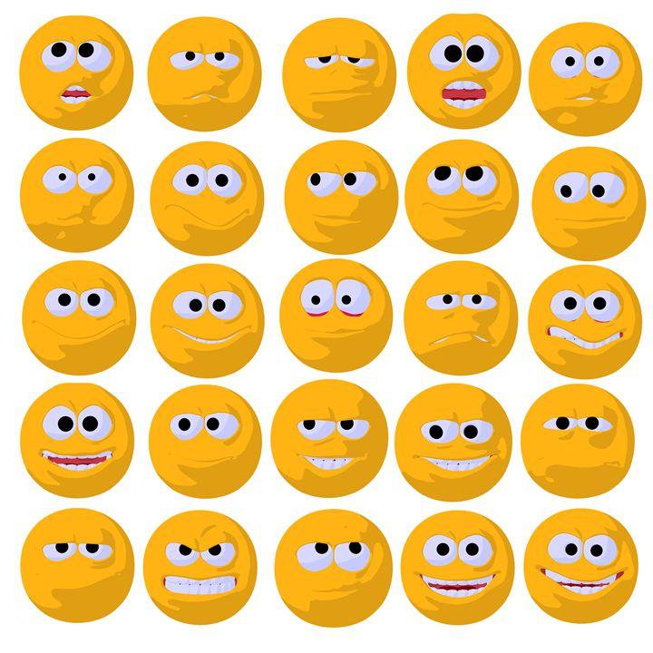 Yellow Emojis - Kathy Gold Art