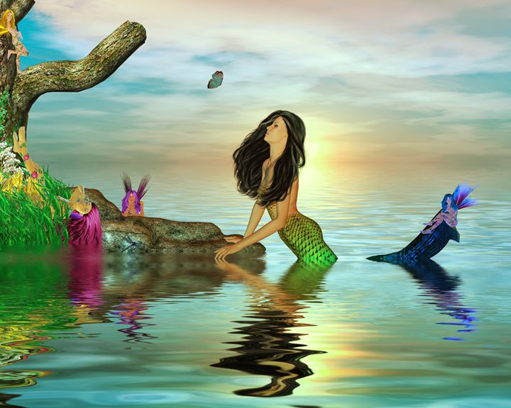 Mermaid and Fairies - Kathy Gold Art