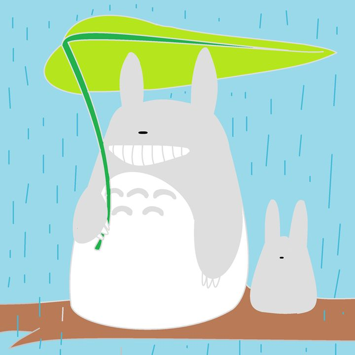 totoro in the rain - mostly anime!