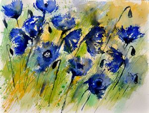 Blue cornflowers - Pol Ledent's paintings