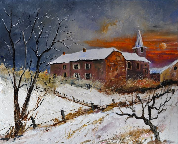 snow in houyet - Pol Ledent's paintings
