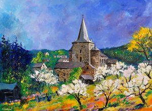 Medieval village Celles - Pol Ledent's paintings