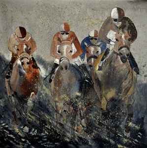 Horse race 4110 - Pol Ledent's paintings
