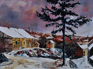 Snow in Houroy - Pol Ledent's paintings
