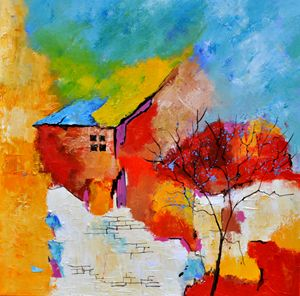 abstract house and tree - Pol Ledent's paintings