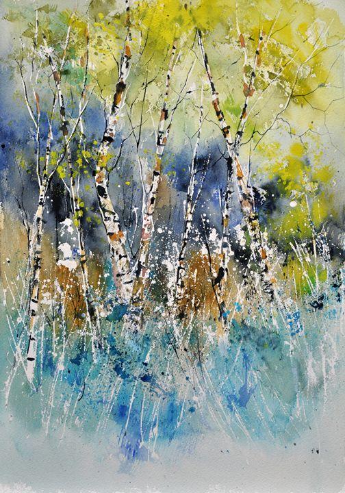 watercolor birch trees - Pol Ledent's paintings
