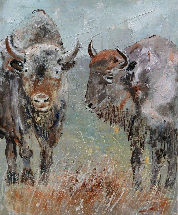 Buffaloes - Pol Ledent's paintings