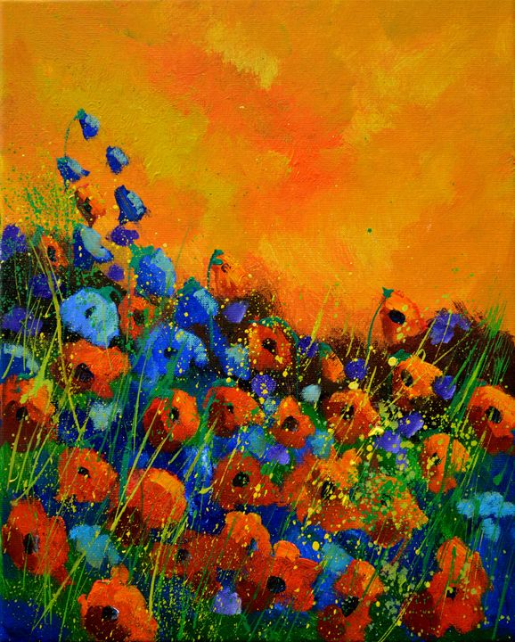 Orange poppies 4551 - Pol Ledent's paintings