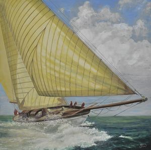 YACHT IN FULL SAIL WITH SPRAY