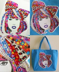 LADY GAGA Art Quilt Canvas Tote