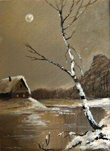 Silver Birch on a Moonlit Night