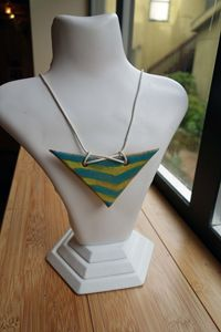 Striped Ceramic Necklace on Leather