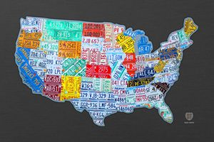 License Plate Map of the USA on Gray