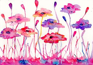 messy pink and blue poppys