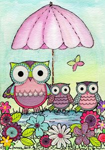 family of 3 cute owls