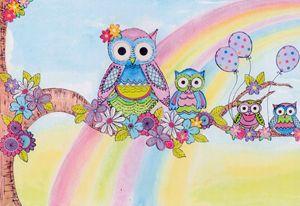 Rainbow owls in a tree
