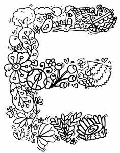 "Alphabet "" E "" doodle art"