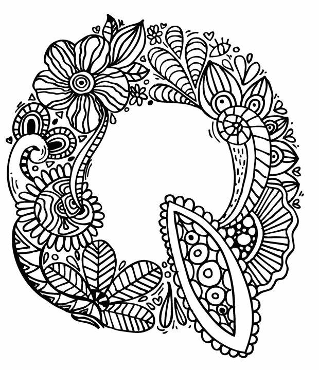 """Alphabet """"  Q """" doodle art - Elephant Bell"""