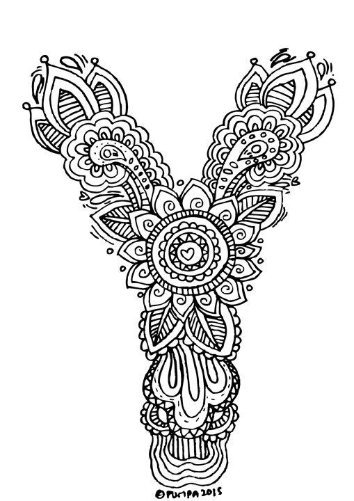 """Alphabet """" Y """" doodle art - Elephant Bell"""