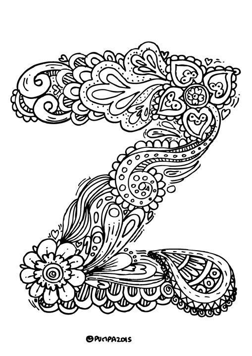 """Alphabet """" Z """" doodle art - Elephant Bell"""