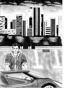 Action hero - pencil drawing