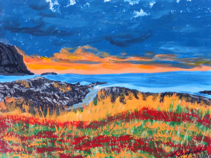 Beach at Sunset - Paintings by K. Scofield